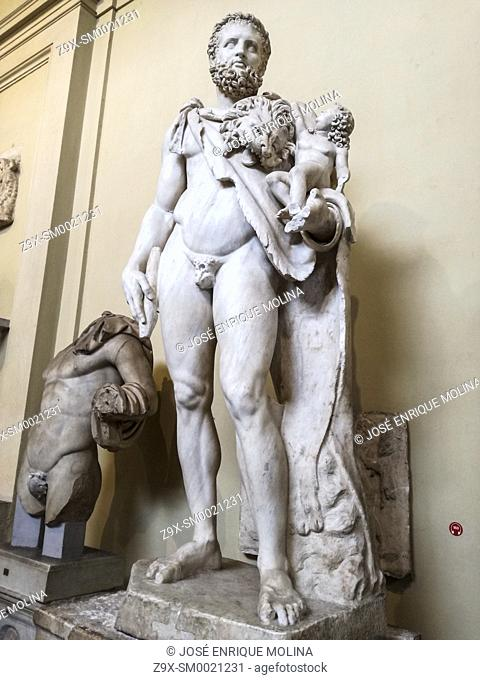 Heracles with infant Telephos ( second century A.D.). Chiaramonti Museum in The Vatican Museum, Vatican city, Rome, Italy
