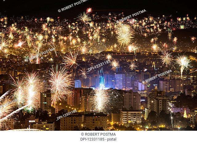 Fireworks Over The City Of Cochabamba At New Years; Cochabamba, Bolivia