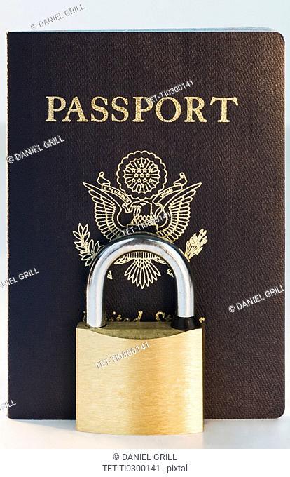 Close up of lock and passport
