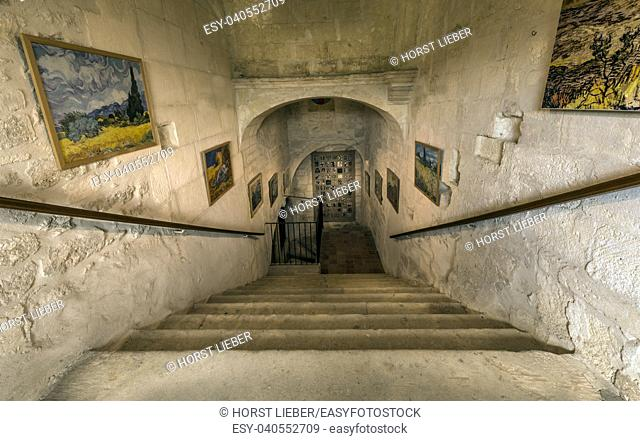 St Remy de Provence, Bouches du Rhone, France, 06. 23. 2018. The central staircase leading to Van Goghâ. . s room in the monastery of St