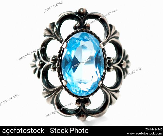 Front view of old silver ring with blue gem