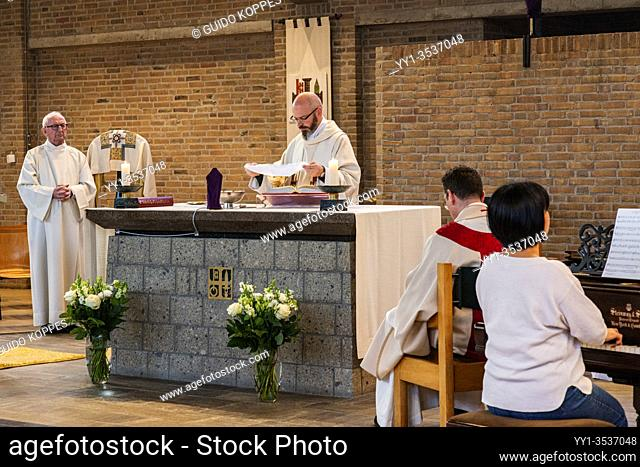 Tilburg, Netherlands. Due to Corona Crisis, Eastern Masses in Catholic Churches are performed without any audience. Christian & Catholic believers can follow...