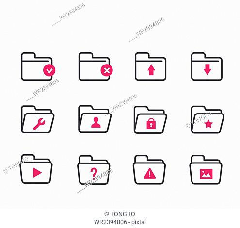 Various icons in folder shape with symbols