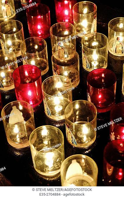 Votive candles in a church les Saintes-Marie de la mer