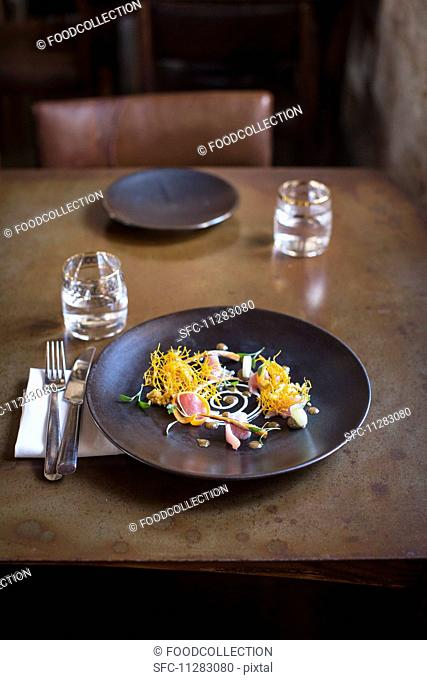 Pickled fish on a restaurant table