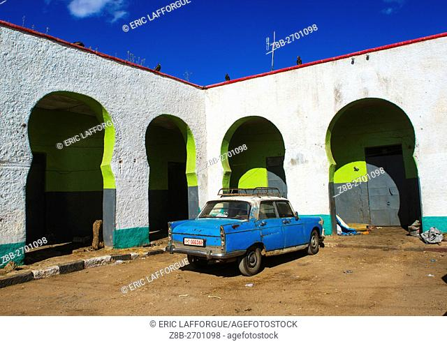 Ethiopia, Harari Region, Harar, peugeot 404 taxi in the market of the old town