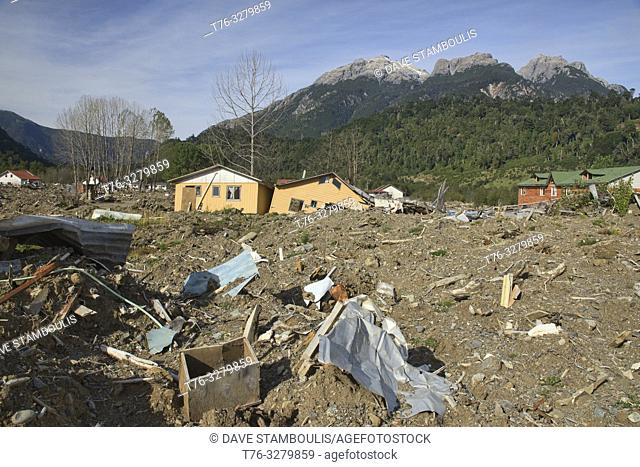 The aftermath of the powerful landslide that destroyed Santa Lucia village along the Carretera Austral, Patagonia, Chile