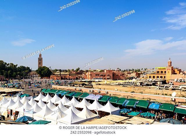 Koutoubia Mosque, also known as Kutubiyya Mosque, Jami' al-Kutubiyah, Kutubiyyin Mosque, and Mosque of the Booksellers with The Jemaa el-Fnaa or Djemaa el Fna...