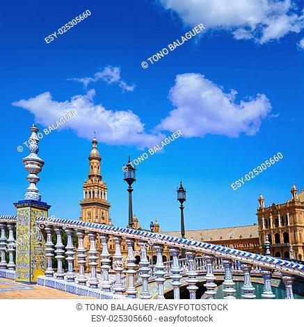 Seville Sevilla Plaza de Espana balustrade Andalusia Spain square
