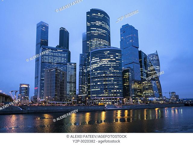 Complex of skyscrapers of Moscow City business center in winter. Russia