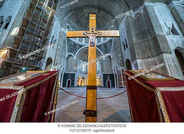 unfinished interior of Saint Sava Church in Vracar plateau, Belgrade, Serbia - one of the largest Orthodox churches in the world