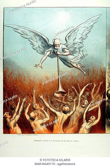 Francesco CRISPI (1818-1901) «Finalmente è arrivato il giorno del Giudizio tra gli eletti ed i reietti!..» Satira dal 'Pasquino'