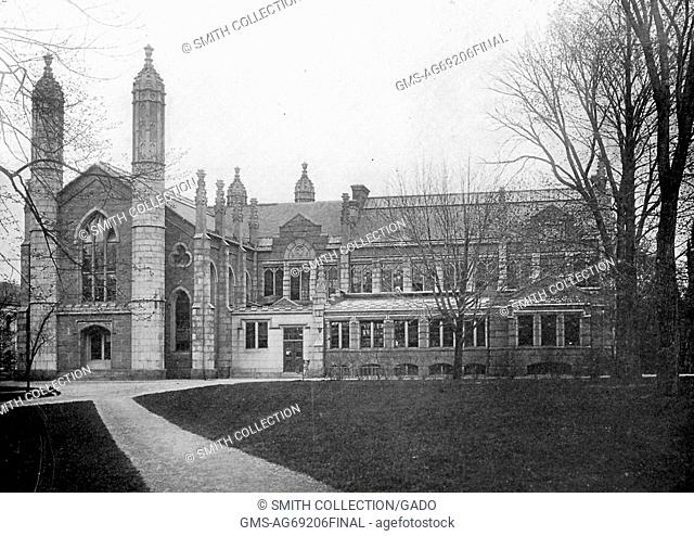 An exterior photograph of Gore Hall at Harvard University, the Gothic styled building was constructed in 1838 to serve as the first dedicated library for the...