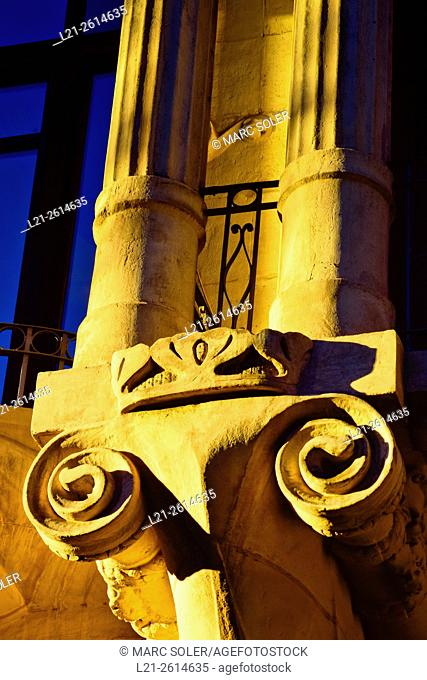 Architectural detail, spirals and columns. Hotel Casa Fuster. Designed by Lluís Domènech i Montaner architect between 1908 and 1910