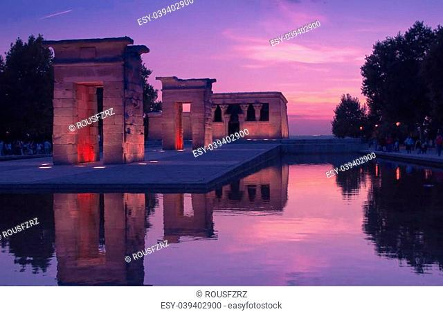 Templo de Debod) is an ancient Egyptian temple which was rebuilt in Madrid, Spain