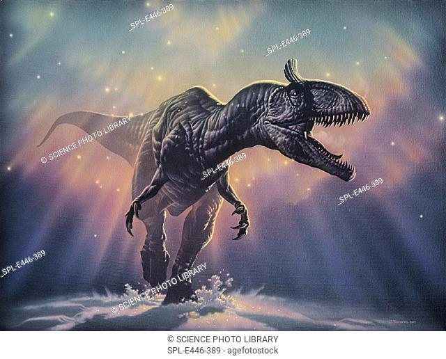 'Cryolophosaurus dinosaur.   Artwork     of Cryolophosaurus, a carnivorous dinosaur that lived in Antarctica during the early Jurassic period