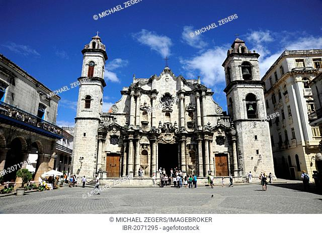 Cathedral, Catedral de la Habana, Plaza de la Catedral square, historic city centre of Havana, Habana Vieja, Old Havana, Cuba, Greater Antilles, Gulf of Mexico