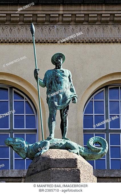 Allegorical figure on a pillar, 1908 by Hermann Hahn, at the rear of the University, Amalienstrasse street, Schwabing, Munich, Bavaria, Germany, Europe