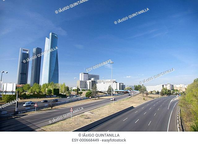 highway and skyscrapers