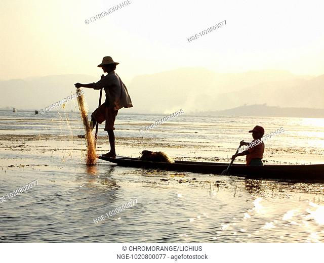Fisher in Canoe, Lake Inle, Burma, Myanmar