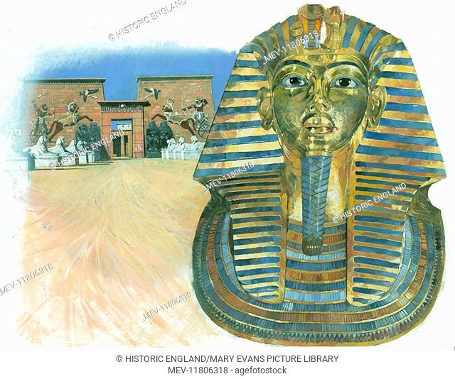 The golden mask of the mummy of the Egyptian Pharaoh Tutankhamun, with a an ancient Egyptian temple complex in the background