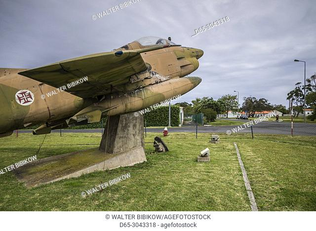 Portugal, Azores, Santa Maria Island, Vila do Porto, monument of old Portuguese Air Force Fiat G-91 fighter place at the airport