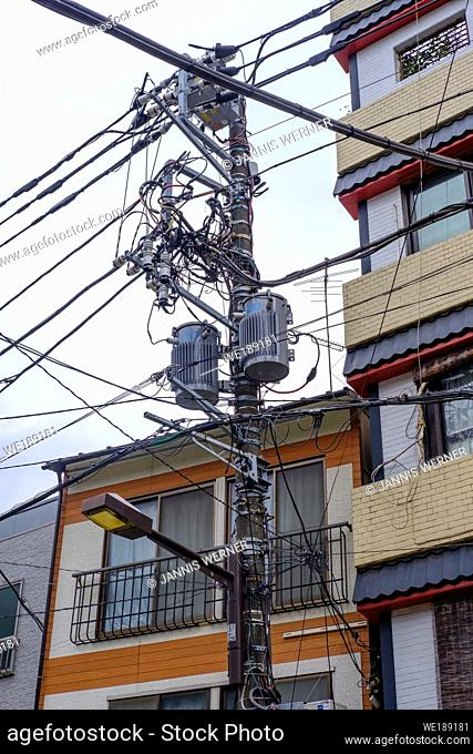 Typical orderly power and utility lines in Tokyo, Japan