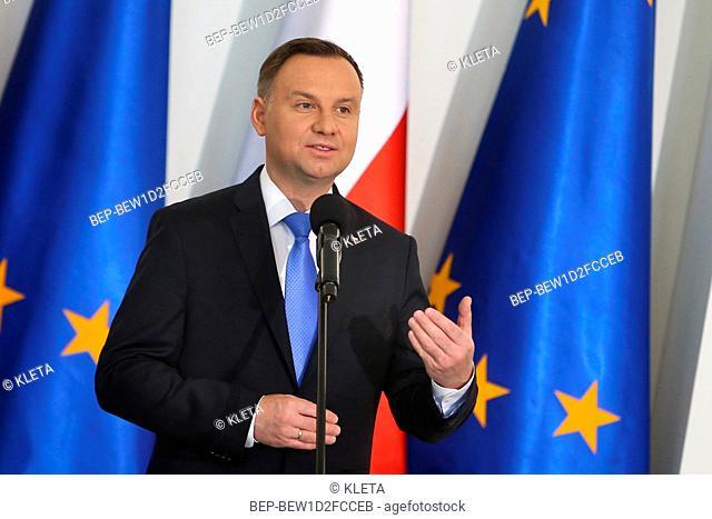 April 27, 2018. Warsaw, Poland. Pictured: President of Poland Andrzej Duda
