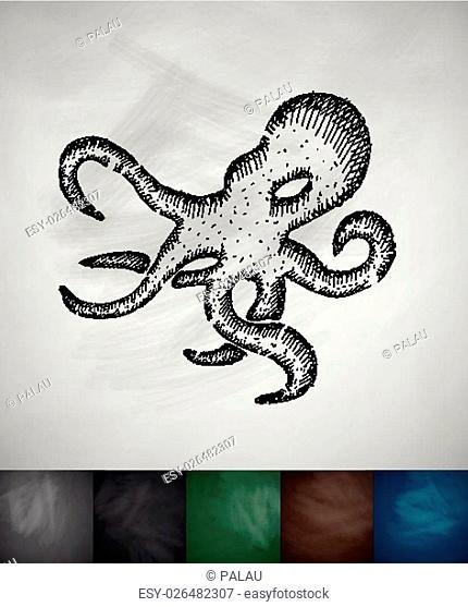 octopus icon. Hand drawn vector illustration. Chalkboard Design