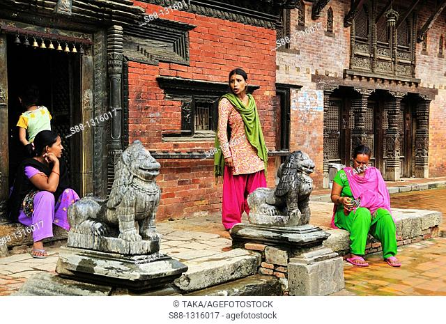 Women who sell souvenirs at Durbar square in Patan