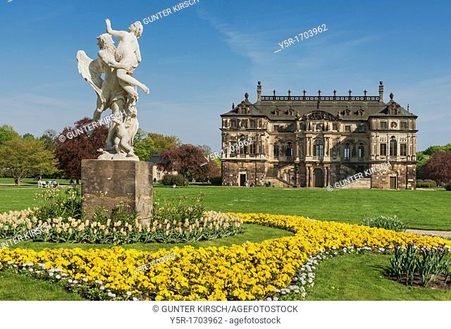 Palace in the Great Garden Park, build 1680 In front of it is the marble group 'The Time takes the beauty' by Pietro Balestra, Dresden, Saxony, Germany, Europe