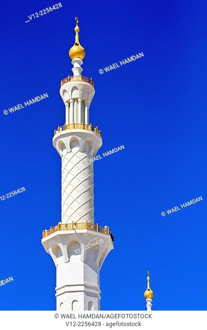 minaret of Sheikh Zayed bin Sultan al-Nahyan Mosque, Abu Dhabi, United Arab Emirates