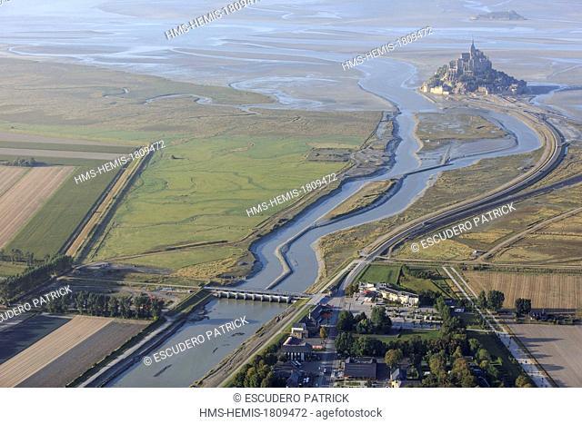 France, Manche, Mont Saint Michel bay, listed as World Heritage by UNESCO, Mont Saint Michel (aerial view)