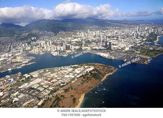 Aerial view of downtown, port area, Sand Island and Honolulu harbour , Oahu, Hawaii, USA