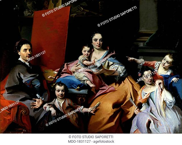 Selfportrait with Family, by Carlo Innocenzo Carlone o Carloni, 1728 - 1739, 18th Century, oil on canvas. Private collection. Whole artwork view