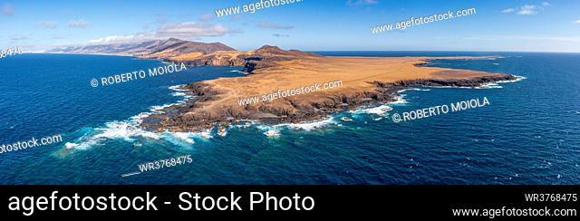 Aerial panoramic view of Punta Pesebre and Punta Jandia, southernmost headlands of Fuerteventura, Canary Islands, Spain, Atlantic, Europe