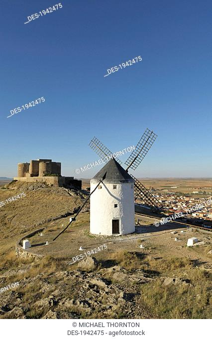 12th century castle and windmills of la mancha, consuegra spain