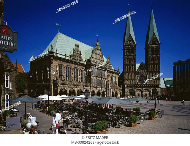 Germany, Bremen, market place,   Town hall, St. Petri cathedral,  Street cafe,  Europe, Hanseatic town, sight, city center, old town, town hall place, buildings
