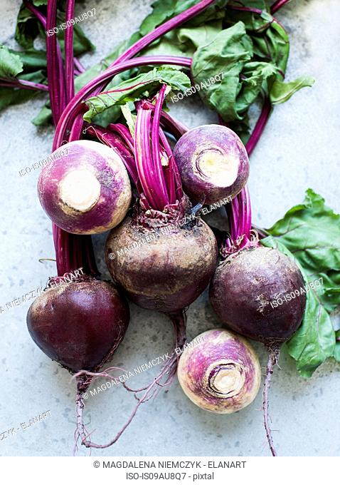 Overhead view of bunch of beetroots and turnips