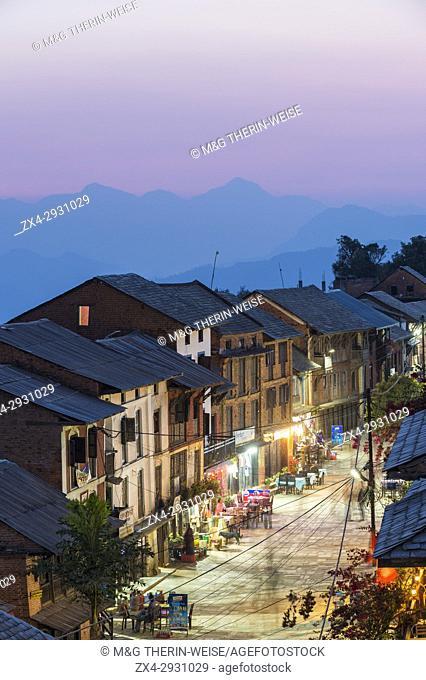 Night street scene in the mountain village of Bandipur, Tanahun district, Nepal