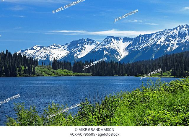 Mehan Lake and the Coast Mountains on the Stewart-Cassiar Highway, Bell ll, British Columbia, Canada