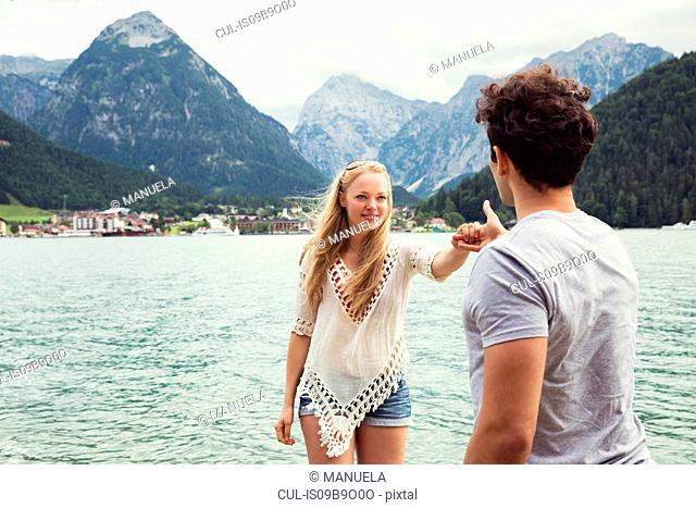 Couple by Achensee holding hands, Innsbruck, Tirol, Austria, Europe