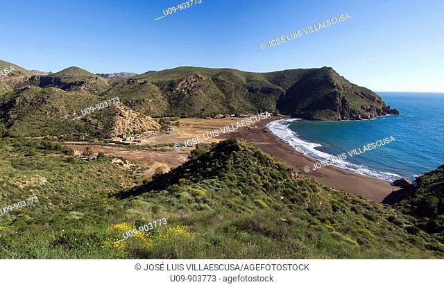 Overview on El Gorguel beach, Cartagena, Murcia, Spain