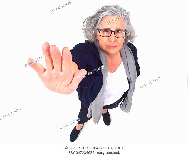 Woman doing stop with her hand