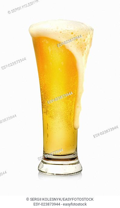 Glass of beer isolated on a white background. Clipping path