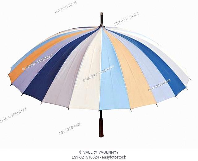 striped multicolored umbrella isolated on white