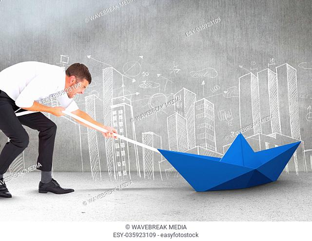 Businessman pulling paper boat with rope in room
