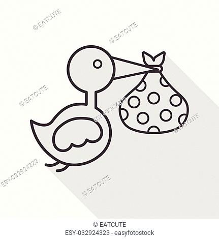 bird and baby flat icon with long shadow,eps10