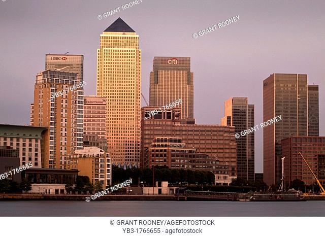 Canary Wharf Financial District At Dusk, Viewed Across The River Thames, London, England