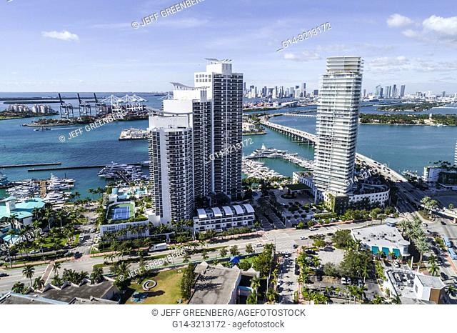 Florida, Miami Beach, aerial view, Icon South Beach Luxury Condos, high rise condominium buildings, Murano Grande at Portofino, Biscayne Bay, MacArthur Causeway
